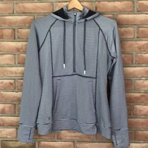 Athleta size S striped, hooded 1/2 zip top